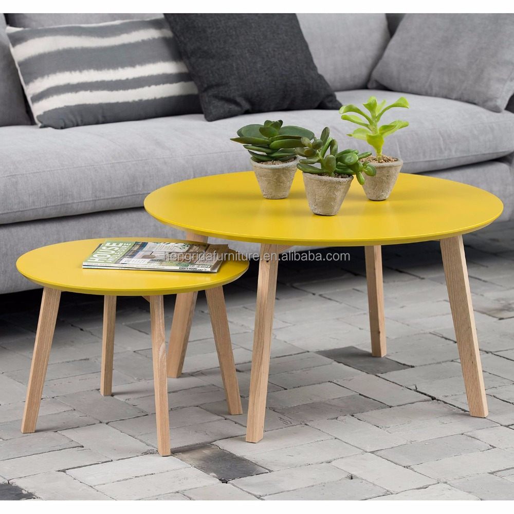 Scandinavian solid pine wood legs small round decorative coffee table with yellow MDF top