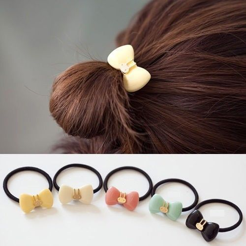 Cute Rubber Hairbands Rope Bow Rabbit Elastic Tie Ponytail Holder
