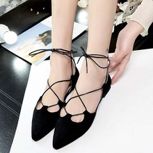 latest lady fashion shoe suede women flat shoes with buckle