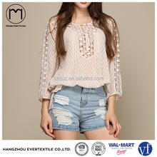 Summer Style Clip Dots 3/4 Sleeve Ladies Crochet Chiffon Tops,See Through Sexy Blouse for Women