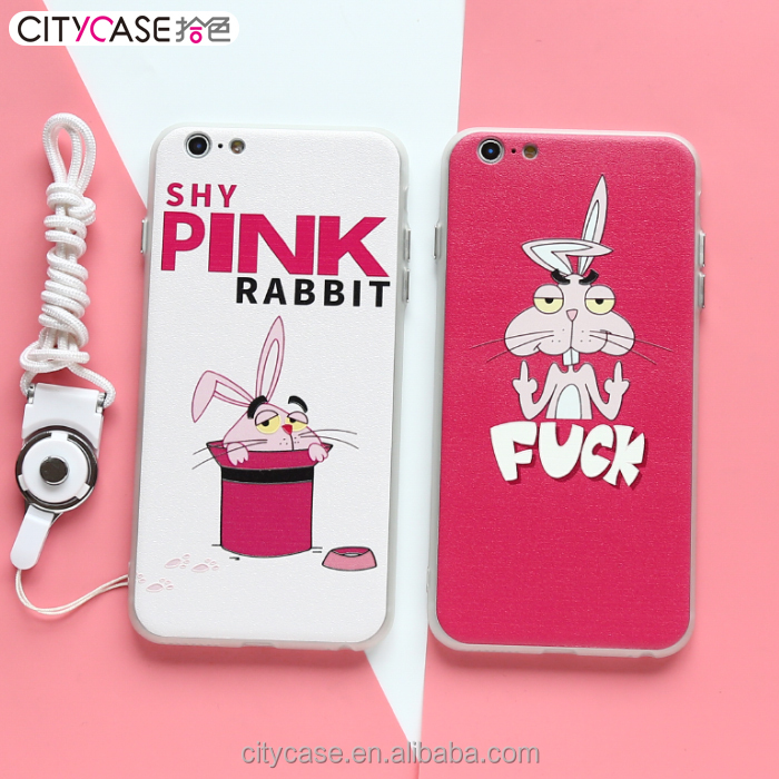 Citycase Good quality Funny Pink Rabbit 3D EMBOSSED tpu pc combo Mobile Phone case for iphone 6 6s 6Plus
