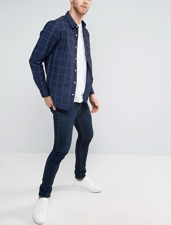 Latest Shirt Design Menswear Slim Fit New Model Check Shirts For Men