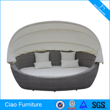 Oval Sun Bed With Canopy Rehau Rattan Outdoor Sofa Bed