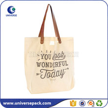 Natural printed cotton tote bag with leather handle for shopping