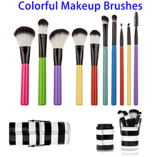 New Products Cosmetics Makeup Brushes Cylinder Case, Portable 10pcs Colorful Makeup Brushes