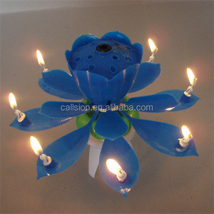 Trade Guarantee Music And Rotating Happy Fireworks Lotus Singing Birthday Cake Candles