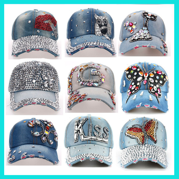 Unisex Distressed Wash Denim Crystal Baseball Hat Custom Worn Out Bling Baseball Cap