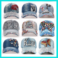 Unisex Distressed Wash Denim Crystal womens 6 panel hat Custom Worn Out Bling Baseball Cap wholesale
