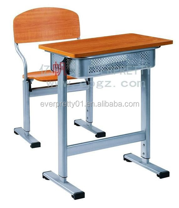 Manufacture Customized Adjustable Single School Desk with Chair Secondary School Adjustable Single Classroom Desk with Chair