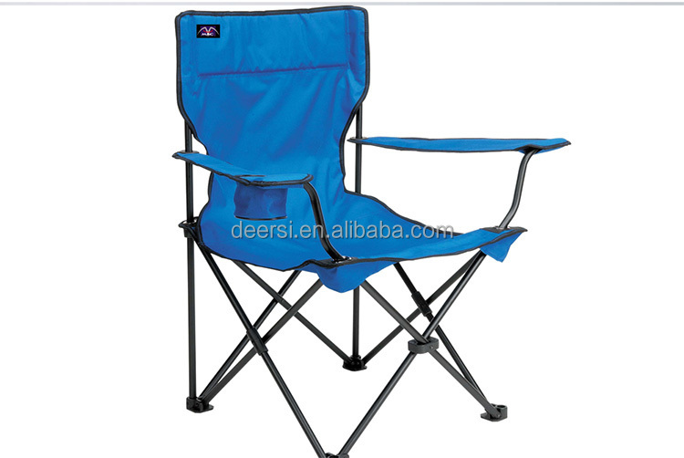 ECO-friendly steel structured beach chairs with armrest with logo printing