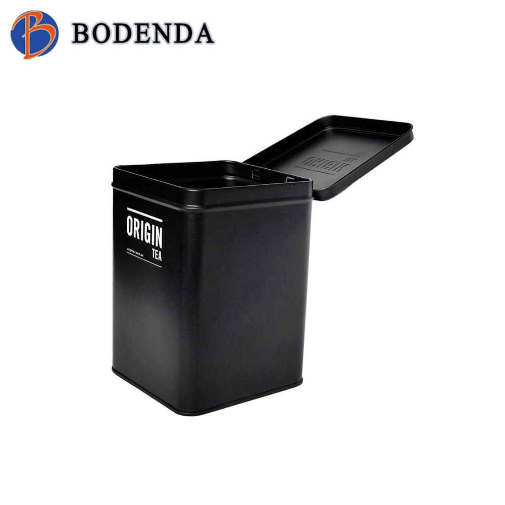 our company want distributor black square tea leave box tin box for tea tin tube tea box