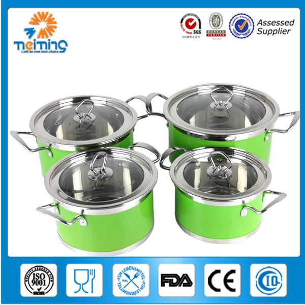 8pcs colorful stainless steel casserole pot set with steel handle