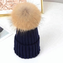 Fashionable women raccoon ball fur knitted beanie hat wholesale China
