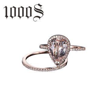Women Rose Gold Rings Set Morganite Anniversary Proposal Clear Jewelry Birthday Party Engagement Wedding Band