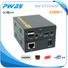 Support one to many 120m IR & usb hdmi extender with kvm over ip/tcp