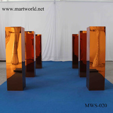 Shining gold mirror surface with flower wedding fiber pillar manufacturer stand wedding columns for wedding decoration(MWS-020)