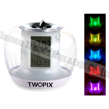 Apple shaped clock talking Talking LCD Alarm Clock With 360 Degree Desk Light