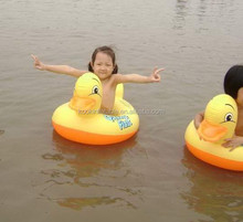 water pool game pvc yellow duck inflatable kids floating seat rider