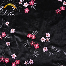 Shaoxing Textile Fashion Dress Polyester Velvet Satin Flower Print Embroidered Silk Fabric