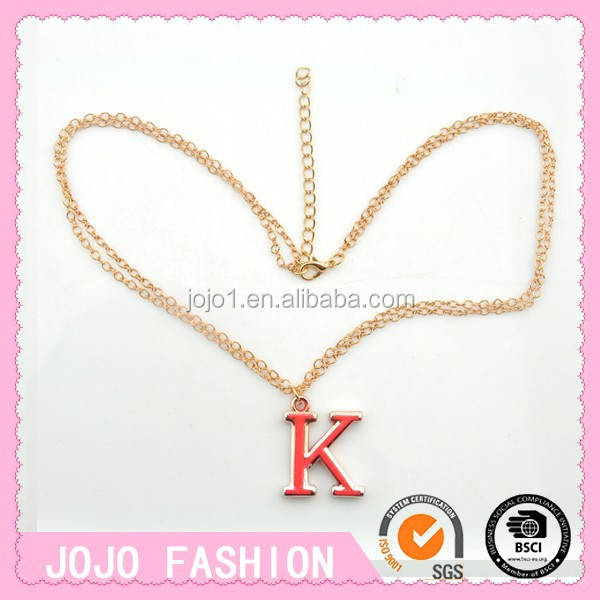 Letter K Design Necklace Girls Gold Plated Necklaces
