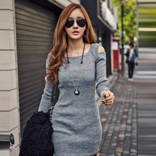 Women Sexy Open Shoulder Long Sleeve BodyCon Slim Party Pinup Evening Plus Size Sexy Pron Dress 19431