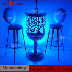 glass top metal base multi-color LED lighting high top cocktail bar tables