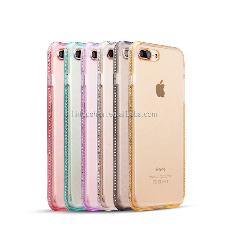 Ultra Thin Clear TPU Diamond Case For iPhone 8 7, for iPhone 8 Crystal Clear Rhinestones Case