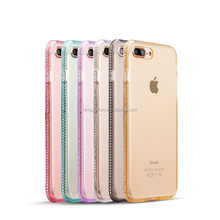 Ultra Thin Clear TPU Diamond Case For iPhone 7, for iPhone 7 Crystal Clear Rhinestones Case