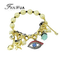 Latest Design Elastic Style Eyes Beads Different Charm Bracelet