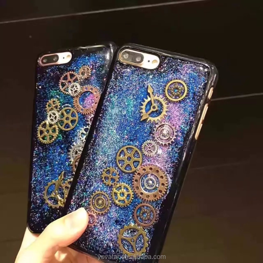 Bling Bling Hard PC Mobile phone case with Time gear design epoxy resin fashion accessories for iphone 7