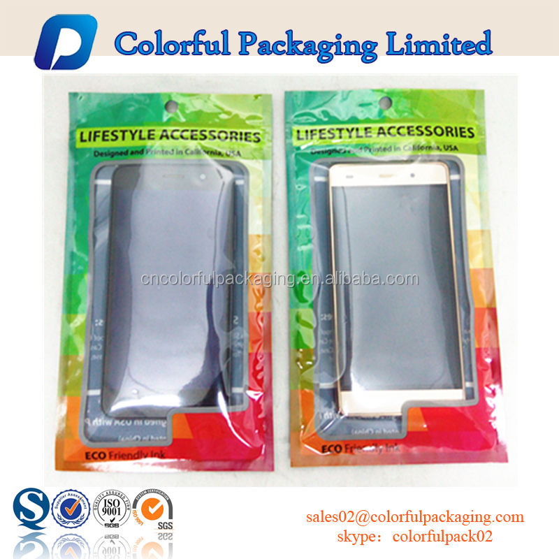 Colorful designs cheap and high quality PET/OPP material cellphone accessories laminating bag with euro hole and zipper