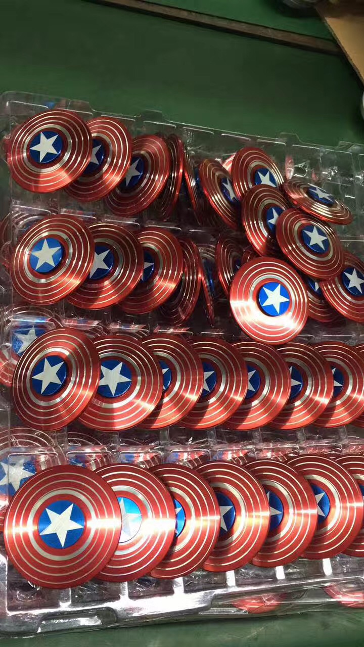 Captain America Hand Spinner EDC Toy Fidget,Stress Reducer Relieves ADHD Anxiety And Precision Steel Bearing