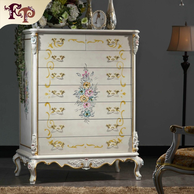 Italian classic design furniture hand carved wood antique chest of eight drawers