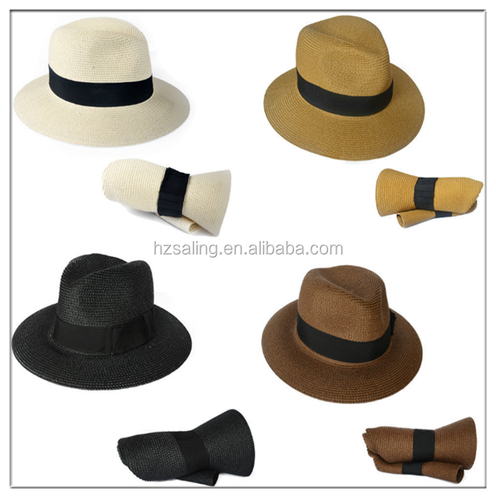 Fashion Men Women Foldable Straw Hat Fedora Panama Style Packable Travel Sun Hat