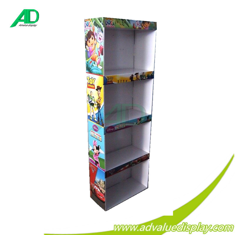 retail store free standing paper bags display shelf