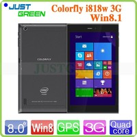 China Colorfly 8 inch I818w 3G tablets Win 8.1wifi Bluetooth Intel Z3735F quad core 2G 32G Glonass GPS tablet pc