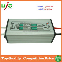 high pf 0.9 waterproof IP67 5-12x1W DC12V constant current 300ma led driver for outdoor solar energy light