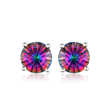 JewelryPalace Solid 925 Sterling Silver Jewelry Genuine Rainbow Fire Mystic Topaz Round Concave Stud Earrings for Women