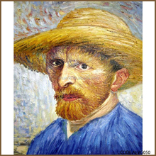 High quality handmade oil paintings self portraitt art deco supply/self-portrait with a straw hat