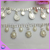 pearl beads trim diamond cristal rhinestone belt roll for bridal sash