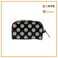 best promotional small faux patent leather cosmetic bag polka dot