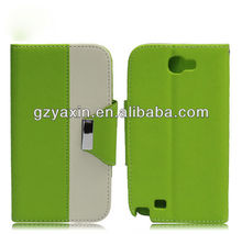 China fashion leather case for samsung note 2,pu leather case for samsung galaxy note2