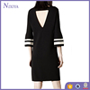 half sleeve woman apparel keyhole back design simple black cotton sundress dress