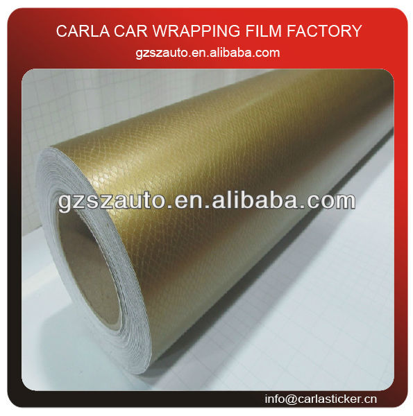 Gold color auto wrap sticker snake skin 3m car wrap with air bubble free