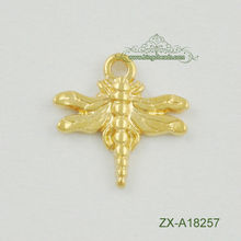 Gold DragonFly Charm Pendant Finding Turkish Jewelry Matte 22K Gold Plated Good Luck Charms Findings