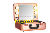 Low price new design professional lighted trolley cosmetic case High quality new fashion light makeup case mirror
