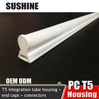 PC T5 housing, t5 led tube parts, plastic t5 housing with pc cover extrusion made in Guzhen Guangdong