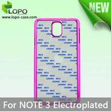 Wholesale sublimaiton electroplated cell phone case for Samsung Note 3
