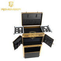High Quality hairdressing Professional salon tool pvc on wheels rolling cosmetic makeup kits case vacuum storage bags
