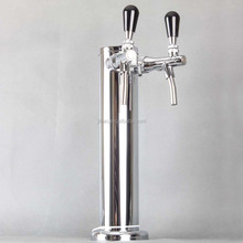 "SS Double Tap Stainless Steel Draft Beer Kegerator Tower, 3"" Diameter, Stainless Steel"
